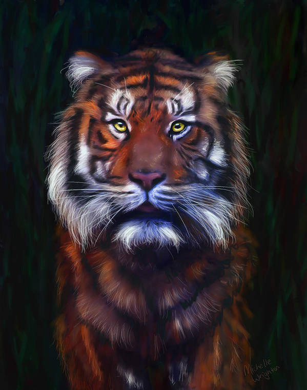Tigers Print featuring the painting Tiger Tiger by Michelle Wrighton