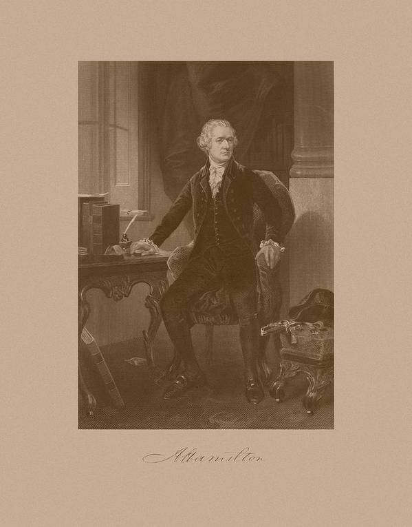 Alexander Hamilton Print featuring the drawing Alexander Hamilton Sitting At His Desk by War Is Hell Store