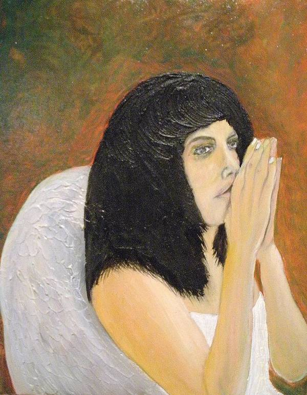 She Prays For All Mankind Print featuring the painting Annolita Praying by J Bauer