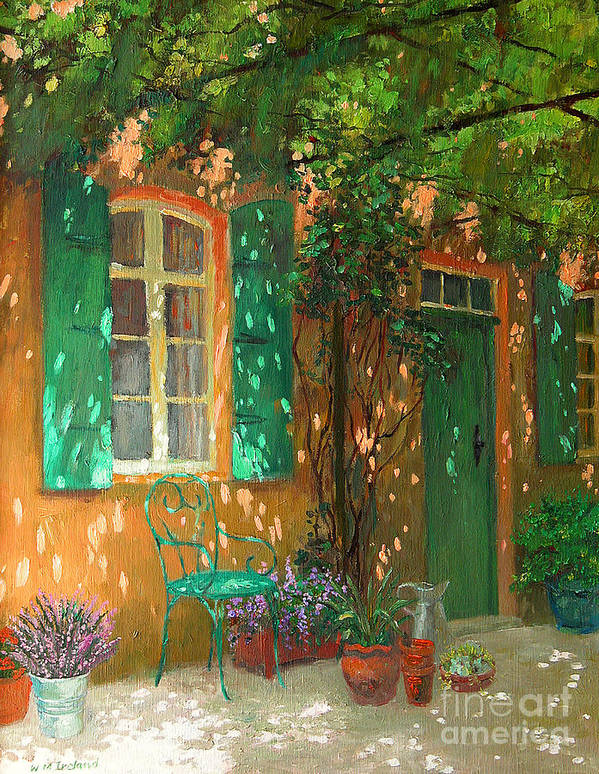 Vine; Vines; Sunshine; Dappled; Door; Window; Garden; Chair; Shutters; Summer; Pots; Lavender; Sunlight; Shadows; Trellis; Sun; Pergola; Treille; Pot; Pots; Flower; Flowers; Plant; Plants; Shutter; Green; Green Door Print featuring the painting Arbour by William Ireland