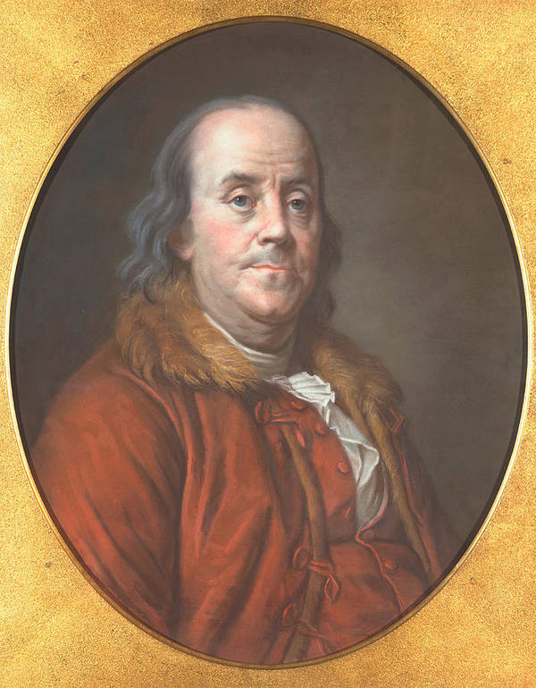 Author Print featuring the painting Benjamin Franklin by Jean Valade