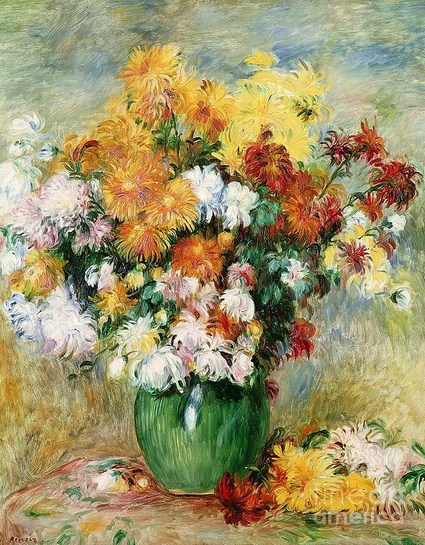 Bouquet Print featuring the painting Bouquet Of Chrysanthemums by Pierre Auguste Renoir