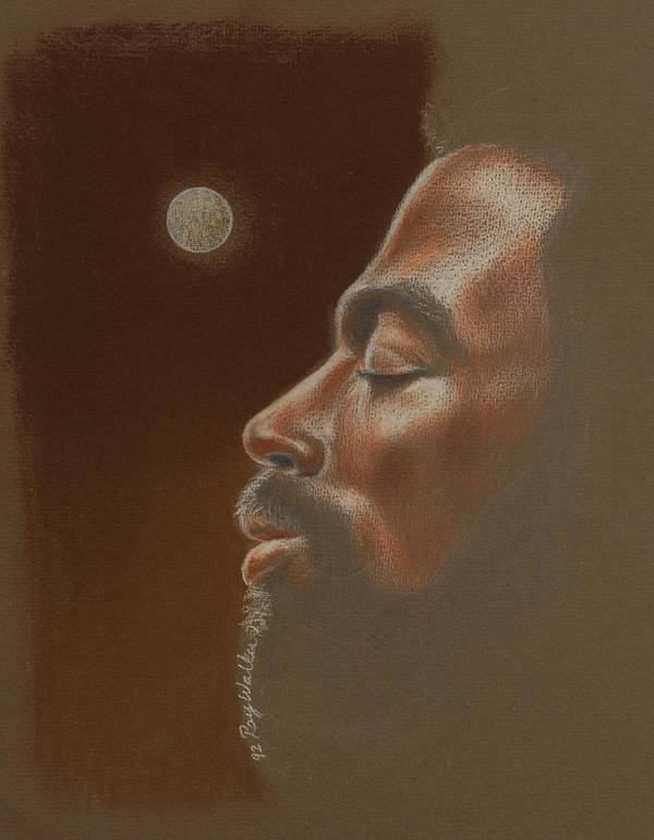 African American Paintings Print featuring the pastel Consider The Moon by Raymond Walker