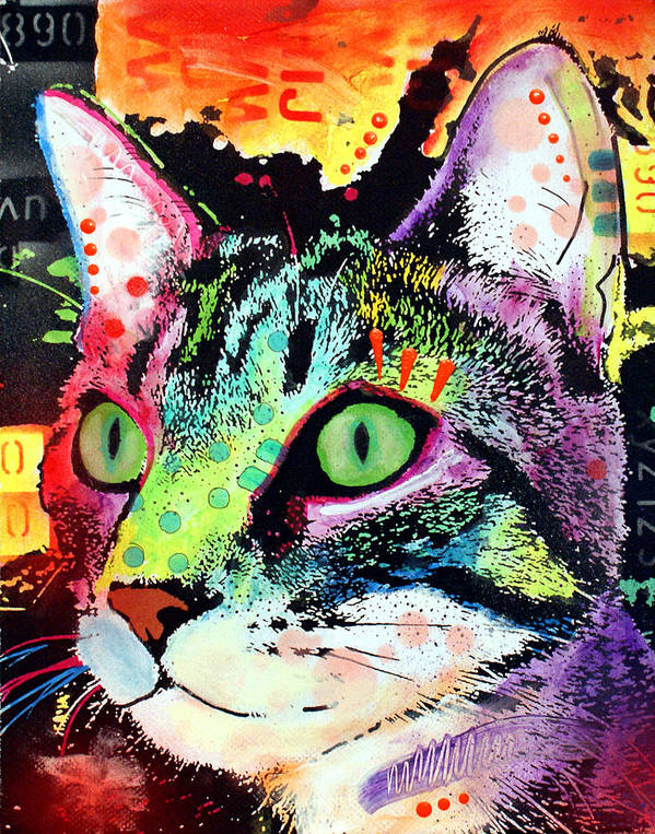 Feline Print featuring the painting Curiosity Cat by Dean Russo
