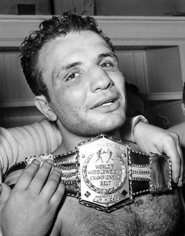 Athlete Print featuring the photograph Detroit, Mich. Jake Lamotta Is Awarded by Everett