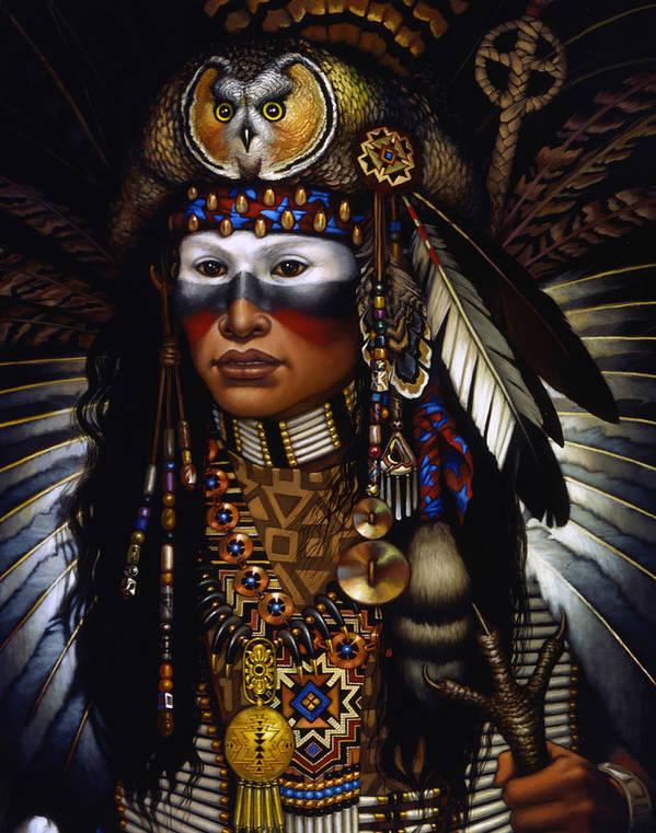 Indian Print featuring the painting Eagle Claw by Jane Whiting Chrzanoska