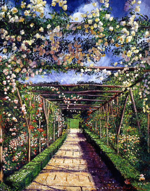 Gardens Print featuring the painting English Rose Trellis by David Lloyd Glover