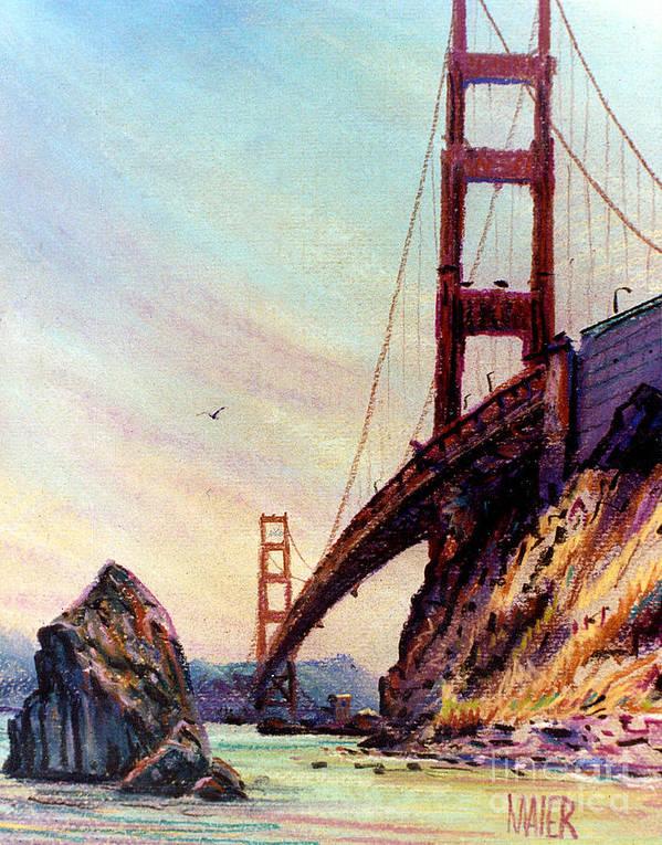 Golden Gate Bridge Print featuring the painting Golden Gate Bridge Looking South by Donald Maier