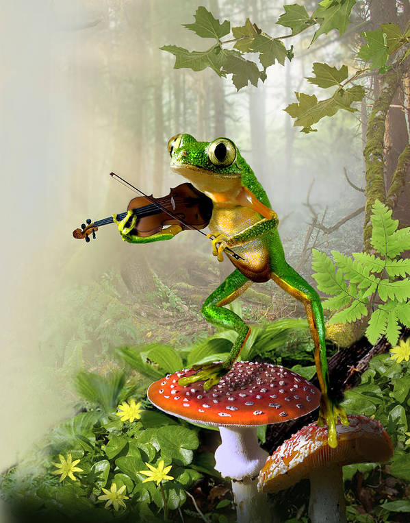 Tree Frog Playing Fiddle Print featuring the painting Humorous Tree Frog Playing A Fiddle by Regina Femrite