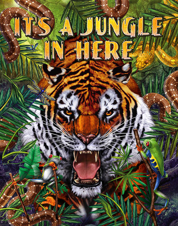 Wildlife Print featuring the painting It's A Jungle by JQ Licensing