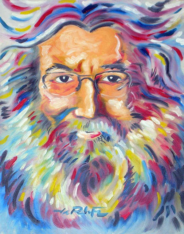 Jerry Garcia Print featuring the painting Jerry Garcia by Joseph Palotas