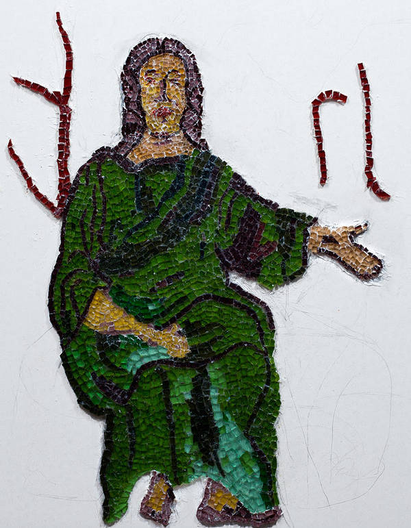 Stained Glass Mosaic Print featuring the glass art Jesus by Emma Kinani