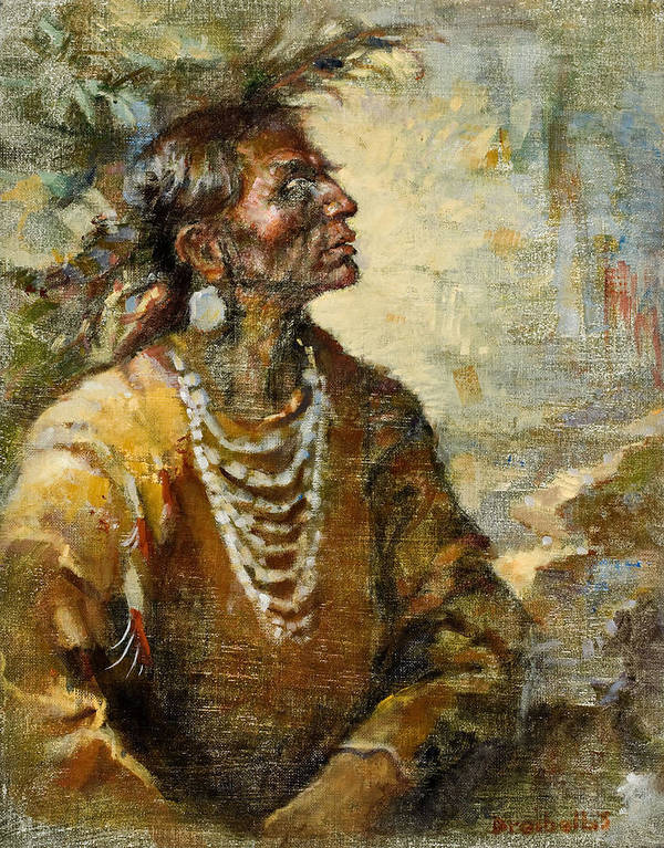 Native American Print featuring the painting One With The Earth by Ellen Dreibelbis