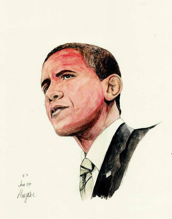 President Print featuring the painting President Barak Obama by Morgan Fitzsimons
