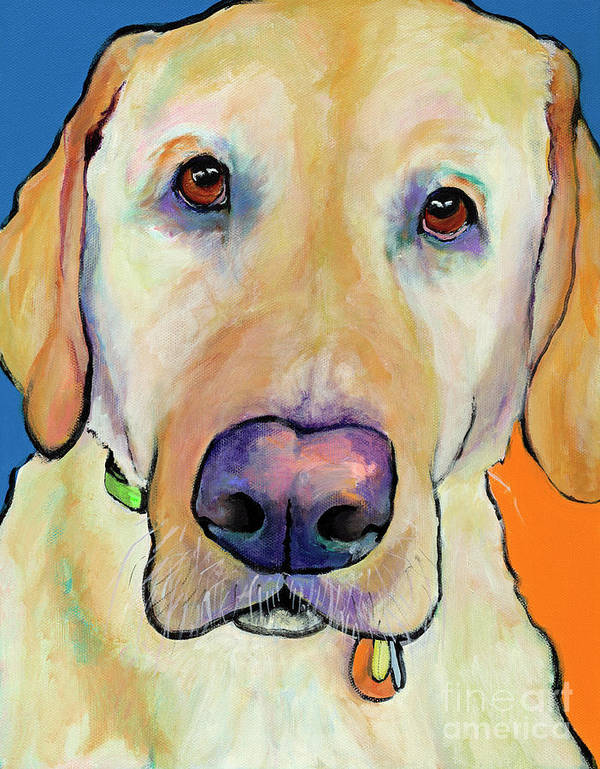 Yellow Lab Print featuring the painting Spenser by Pat Saunders-White