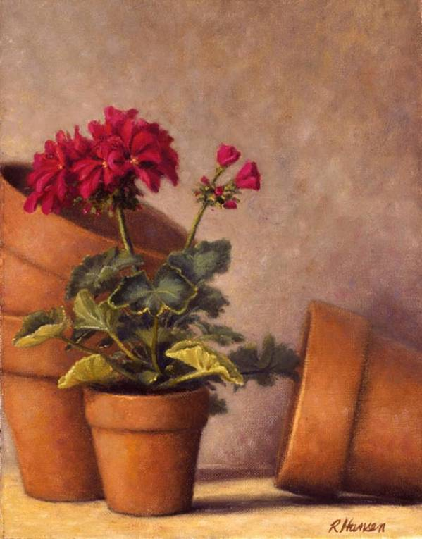 Red Geraniums Print featuring the painting Spring Planting by Rick Hansen