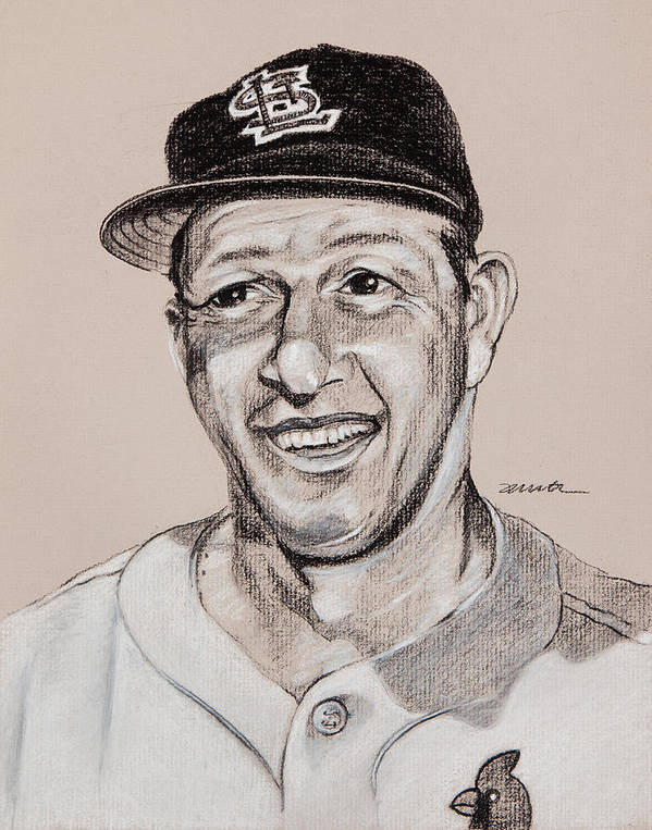 St. Louis Cardinals Print featuring the drawing Stan The Man by Jim Wetherington