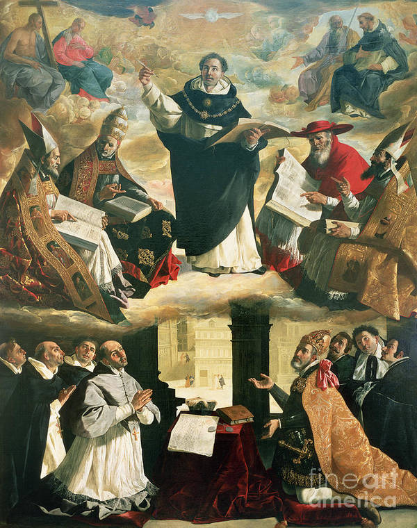 The Print featuring the painting The Apotheosis Of Saint Thomas Aquinas by Francisco de Zurbaran