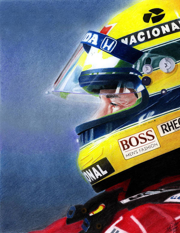 Formula One Racing Print featuring the mixed media The Focus Of Ayrton by Lyle Brown