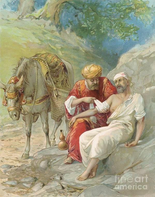 Bible Stories; Biblical; The Good Samaritan; Healing; Kindness; Parable; Jesus Christ Print featuring the painting The Good Samaritan by Ambrose Dudley