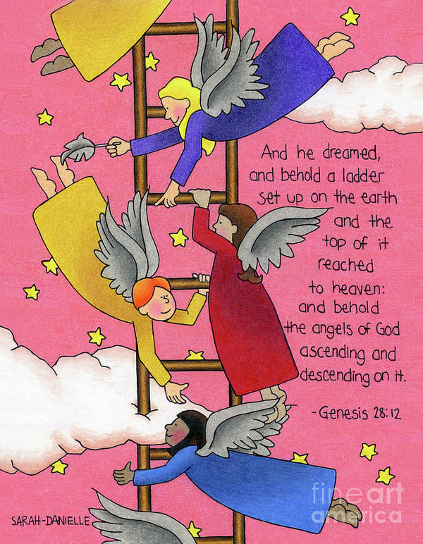 Angels Print featuring the drawing The Ladder by Sarah Batalka