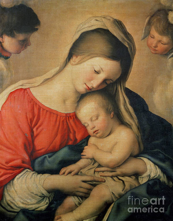 Mary Print featuring the painting The Sleeping Christ Child by Il Sassoferrato
