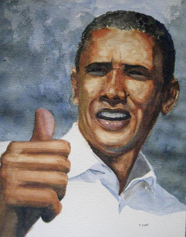 Barack Obama Print featuring the painting Thumbs Up by Shirley Braithwaite Hunt