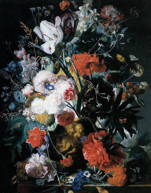 Jan Van Huysum Print featuring the painting Vase Of Flowers by Jan Van Huysum