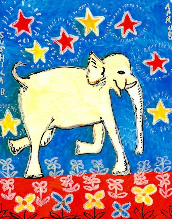Sue Burgess Print featuring the painting Yellow Elephant Facing Right by Sushila Burgess