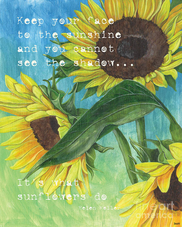 Flowers Print featuring the painting Vince's Sunflowers 1 by Debbie DeWitt
