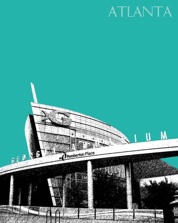 Architecture Print featuring the digital art Atlanta Georgia Aquarium - Teal Green by DB Artist