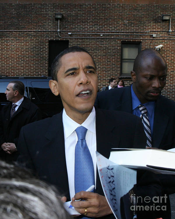 Barack Obama President Nyc Letterman Signs Autographs 2007 Before Elected Print featuring the photograph Barack Obama Nyc 4-9-07 by Patrick Morgan