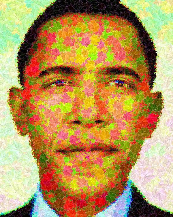 Portrait Print featuring the painting Barack Obama - Maple Leaves by Samuel Majcen