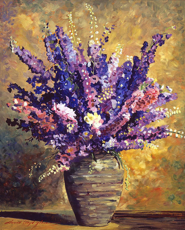Still Life Print featuring the painting Beaujolais Bouquet by David Lloyd Glover