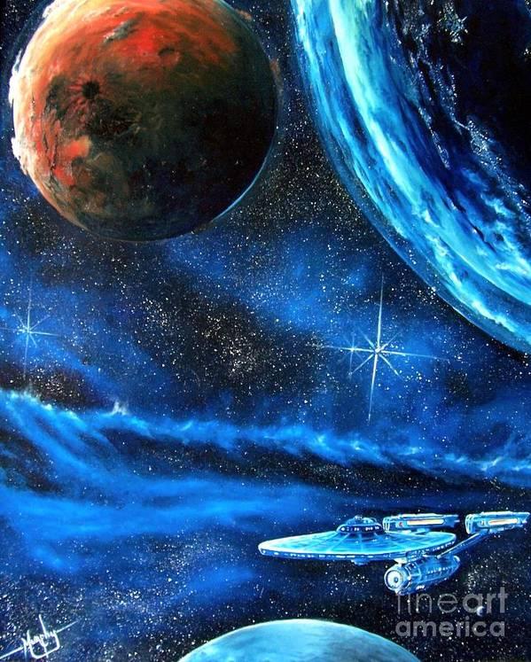 Cosmic Print featuring the painting Between Alien Worlds by Murphy Elliott