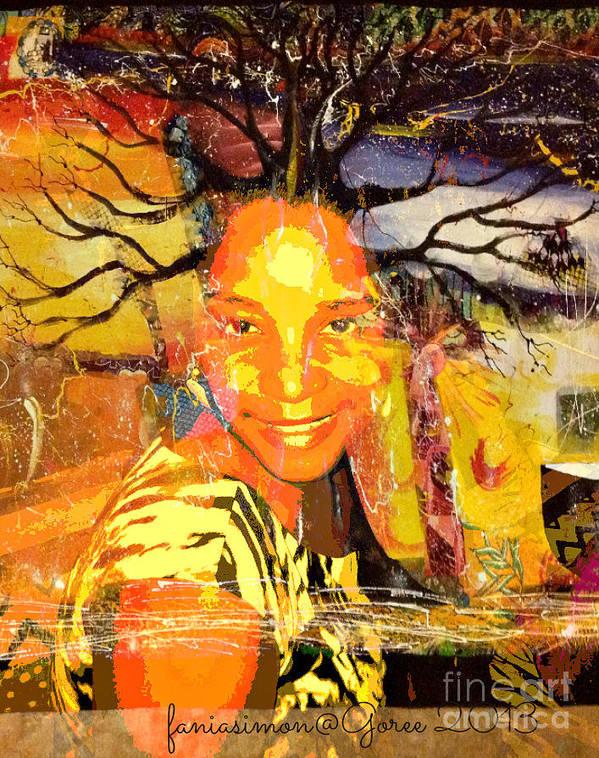 Fania Simon Print featuring the mixed media Brain Of Baobab by Fania Simon