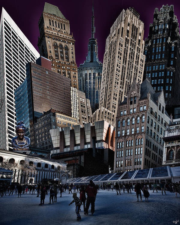 Bryant Park Print featuring the photograph Bryant Park Collage by Chris Lord