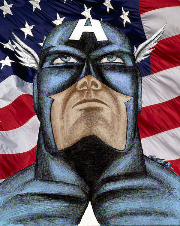 Captain America Print featuring the drawing Captain America by Michael Mestas