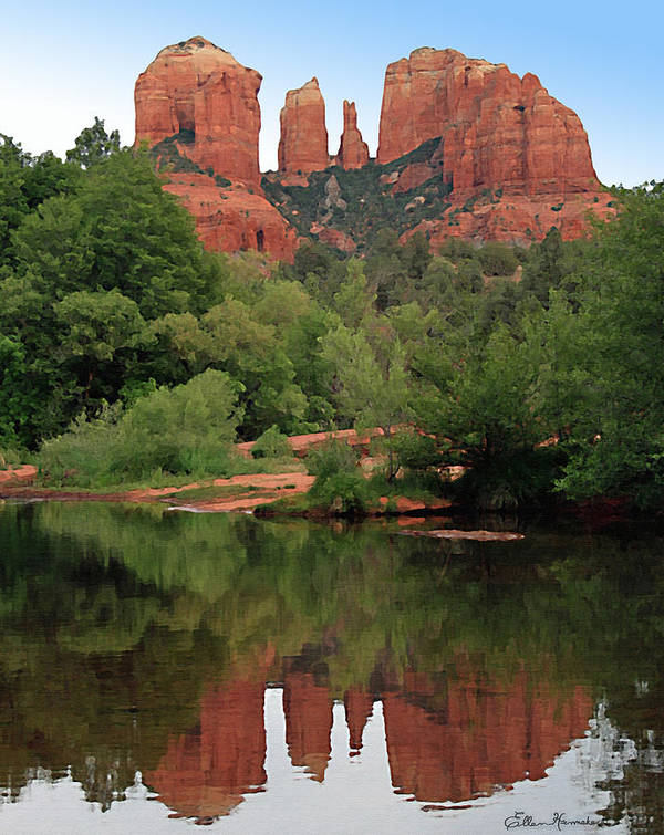 Cathedral Rock Print featuring the painting Cathedral Rock 1 by Ellen Henneke