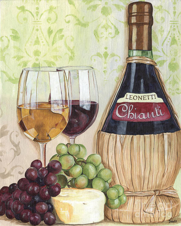 Wine Print featuring the painting Chianti And Friends by Debbie DeWitt