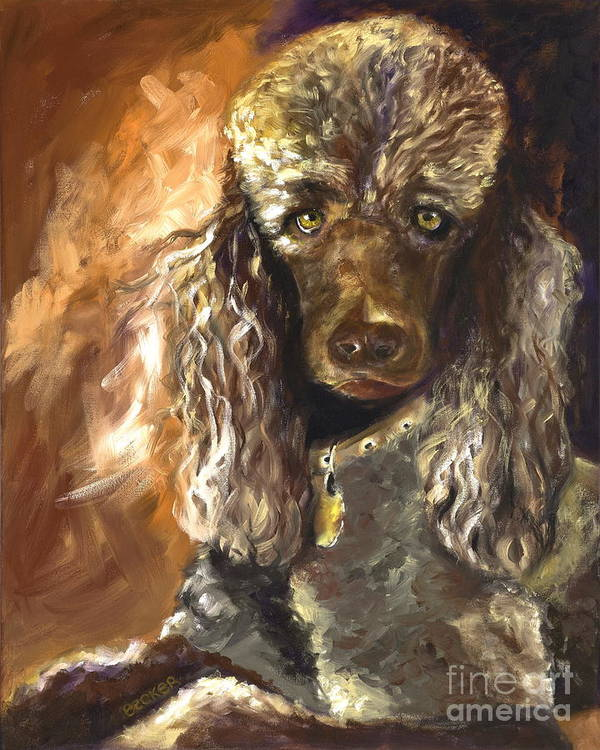 Dogs Print featuring the painting Chocolate Poodle by Susan A Becker