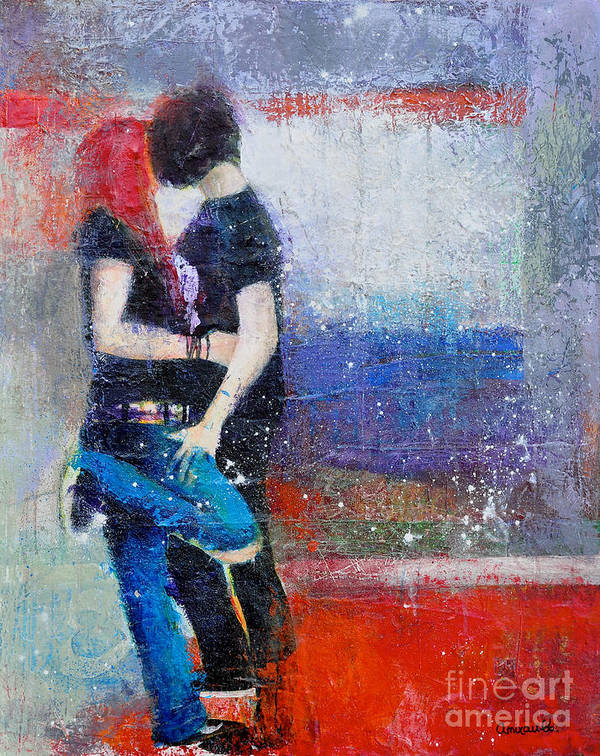 Colorful Teens Print featuring the painting Colorful Teen Together For Ever by Johane Amirault