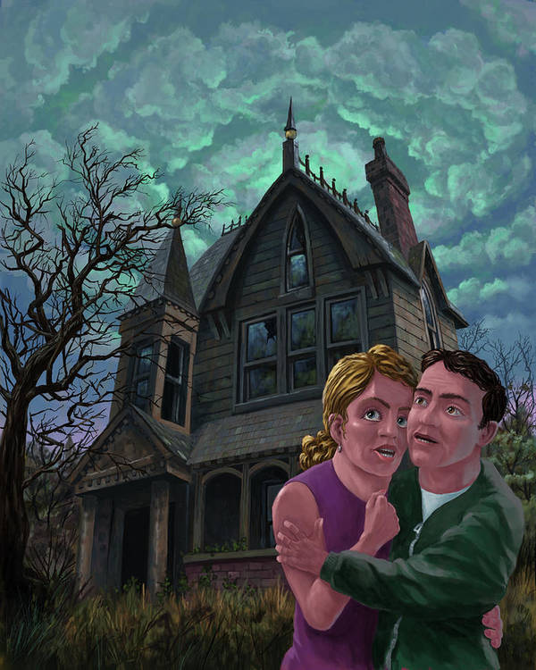 Ghost Print featuring the painting Couple Outside Haunted House by Martin Davey