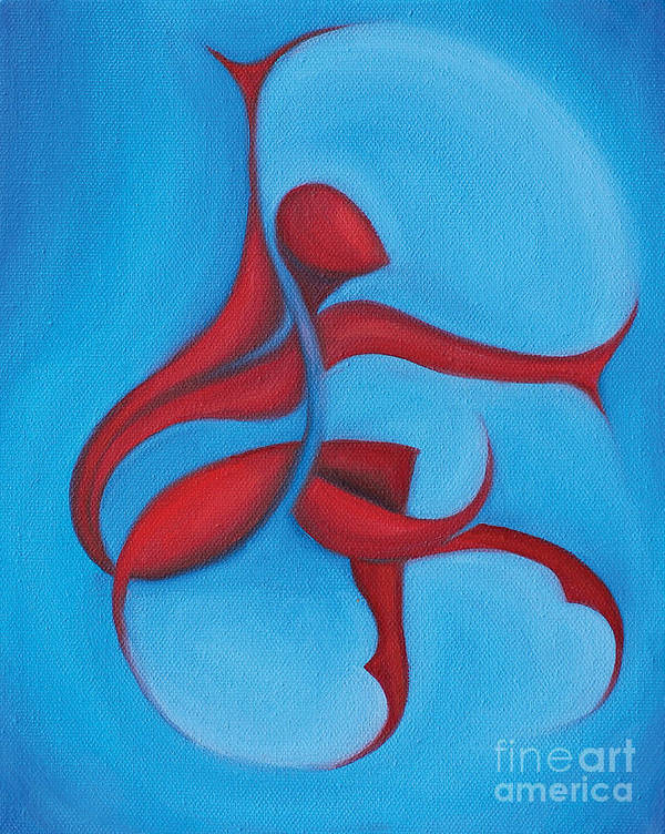 Abstract Art Print featuring the painting Dancing Sprite In Red And Turquoise by Tiffany Davis-Rustam