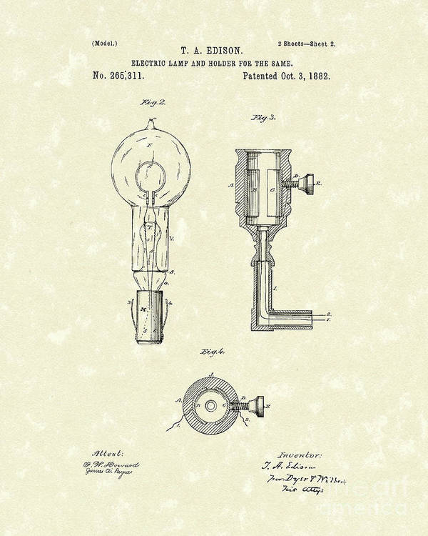 Edison Print featuring the drawing Edison Lamp 1882 Patent Art by Prior Art Design
