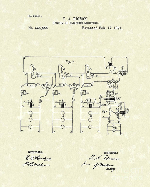 Edison Print featuring the drawing Edison Lighting System 1891 Patent Art by Prior Art Design