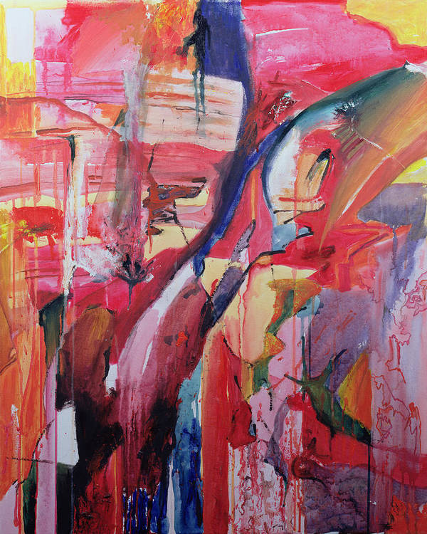 Abstract; Red; Comforting Print featuring the painting Euskadi by Thomas Hampton