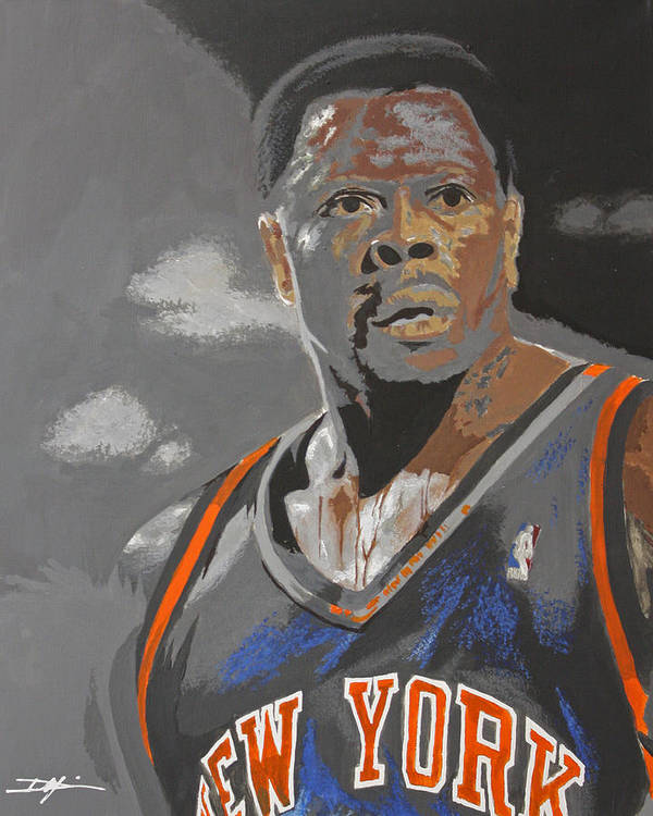 New York Knicks Print featuring the drawing Ewing by Don Medina