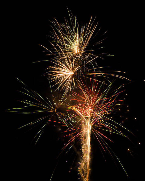Fireworks Print featuring the photograph Explosion by Shirley Tinkham