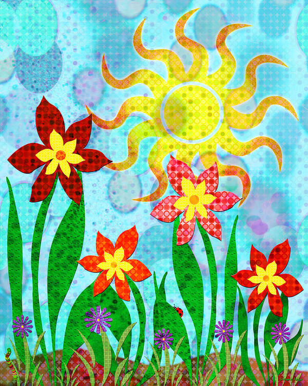 Flower Print featuring the digital art Fanciful Flowers by Shawna Rowe